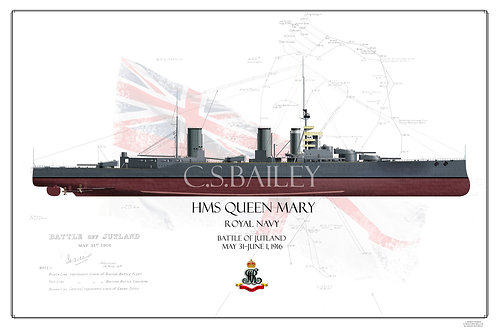 HMS Queen Mary Jutland FH Print
