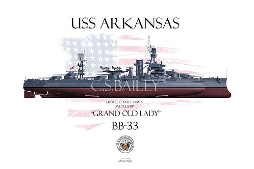 USS Arkansas BB-33 MS21 FH T-shirt