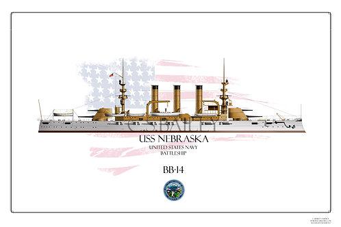 USS Nebraska BB-14 WL Print