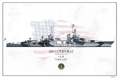 USS Louisville CA-28 Dazzle WL Print