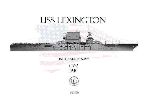 USS Lexington CV-2 1936 WL t-shirt