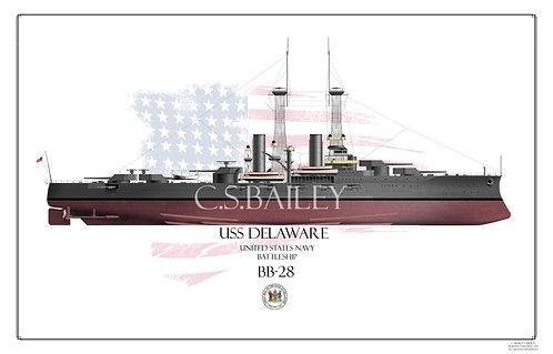 USS Delaware BB-28 FH Print