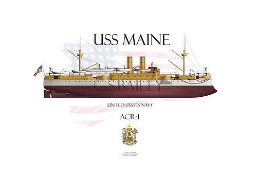 USS Maine1898 FH T-shirt