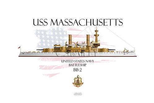 USS Massachusetts BB-2 WL T-shirt