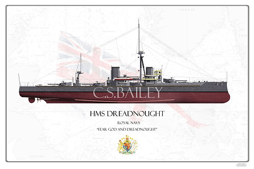 HMS Dreadnought FH Print