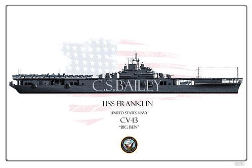 USS Franklin CV-13 MS 21 WL Print