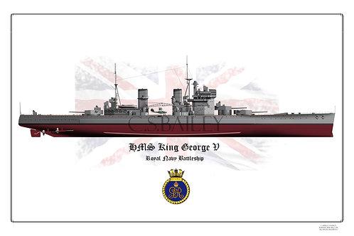 HMS King George V 1940 FH Print