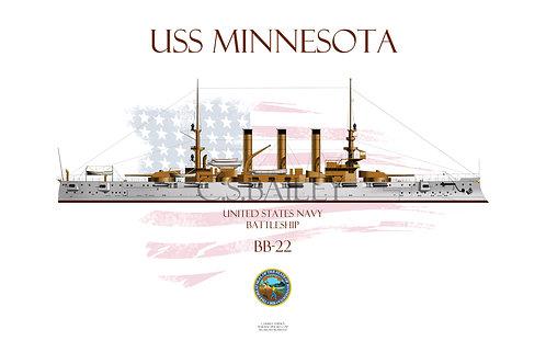 USS Minnesota BB-22  WL T-shirt