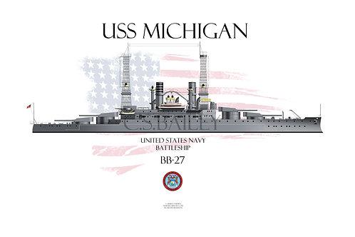 USS Michigan  BB-27 WL t-shirt