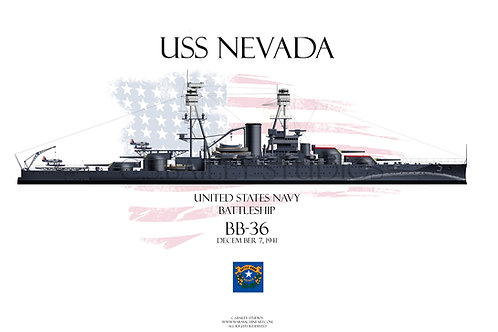 USS Nevada BB-36 WL T-shirt