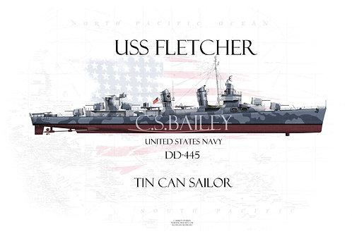 USS Fletcher DD-445 FH T-shirt