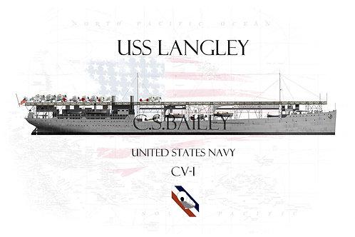 USS Langley CV-1 WL t-shirt
