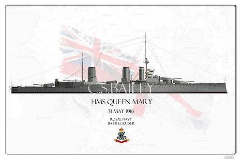 HMS Queen Mary Jutland WL Print
