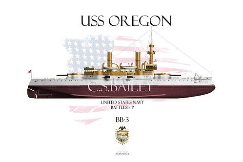 USS Oregon BB-3 FH T-shirt