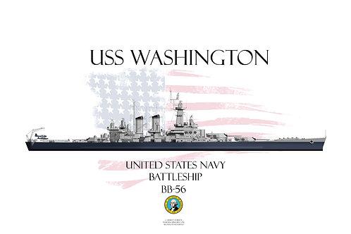 USS Washington BB-56 WL T-shirt