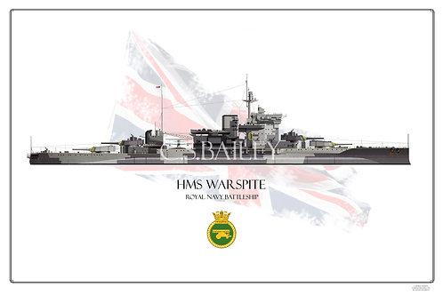 HMS  Warspite WL Print