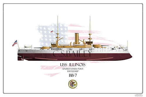 USS Illinois BB-7 FH Print
