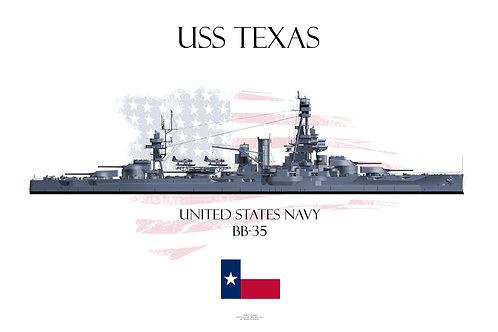 USS Texas  BB-35 MS21 WL T-shirt