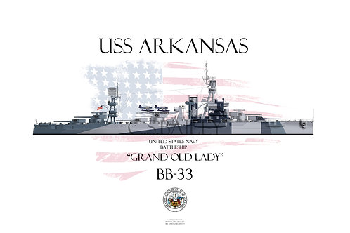USS Arkansas BB-33 Dazzle WL T-shirt