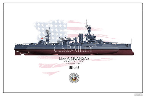 USS Arkansas BB-33 MS21 FH print