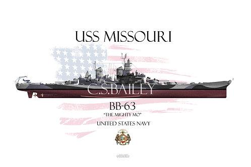 USS Missouri BB-63 Dazzle FH T-shirt
