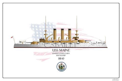 USS Maine BB10 WL Print