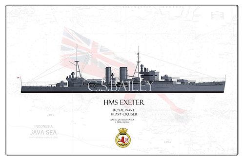 HMS Exeter WL print