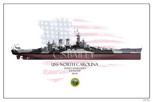 USS North Carolina BB-55 FH Print