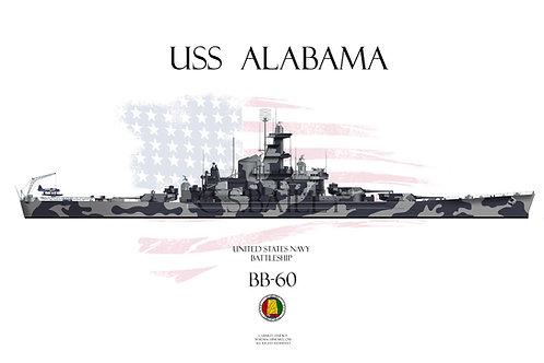 USS Alabama BB-60 WL t/s