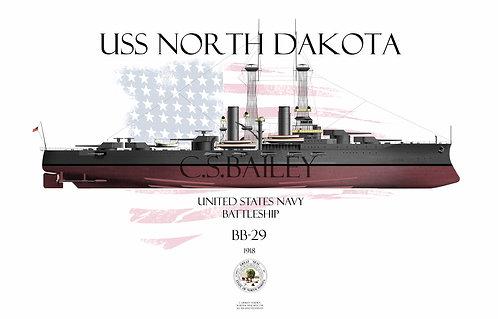 USS North Dakota  BB-29  1918 FH T-shirt