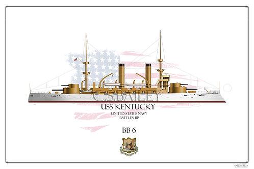 USS Kentucky BB-6 WL Print