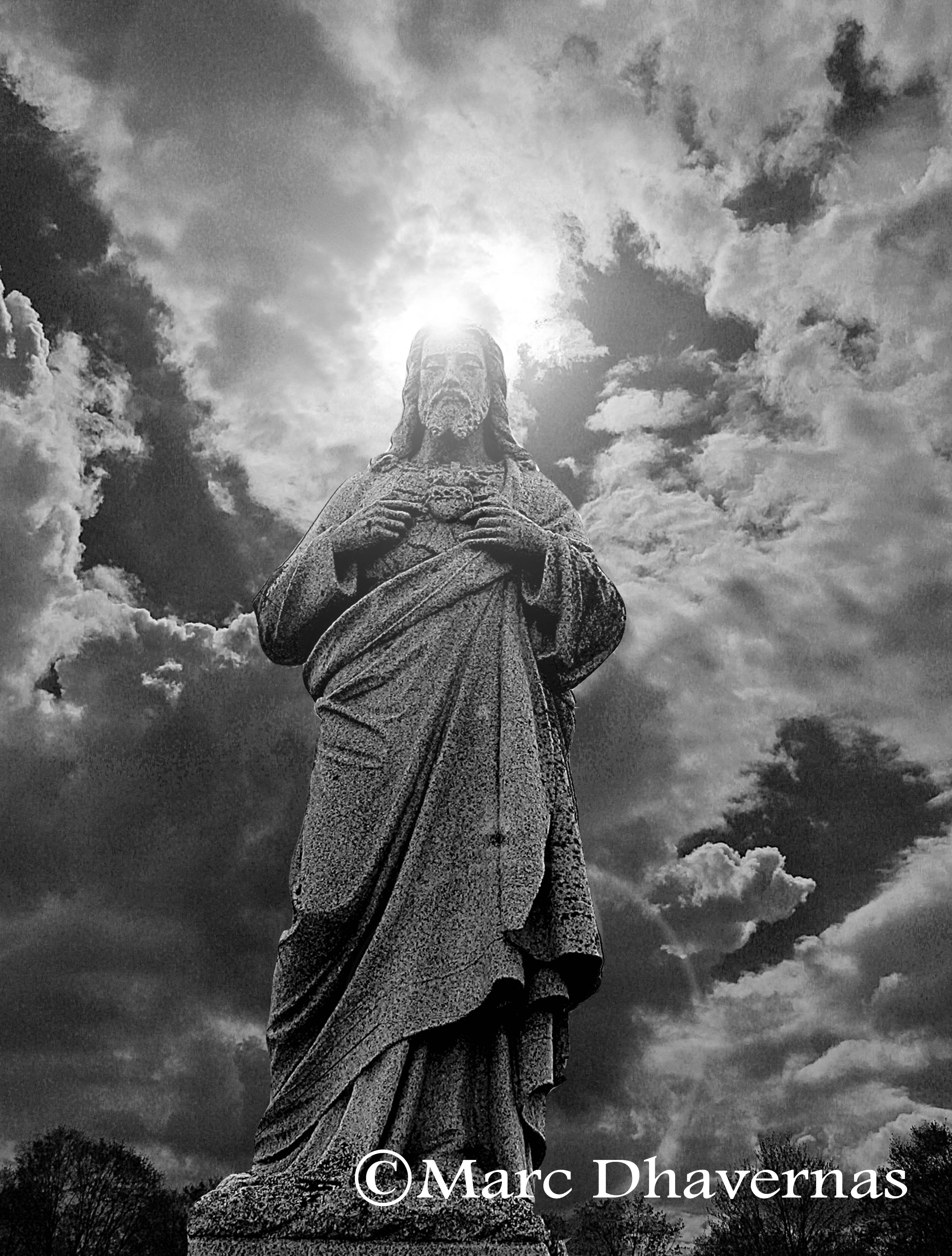 Jesus and the clouds (with halo B&W))