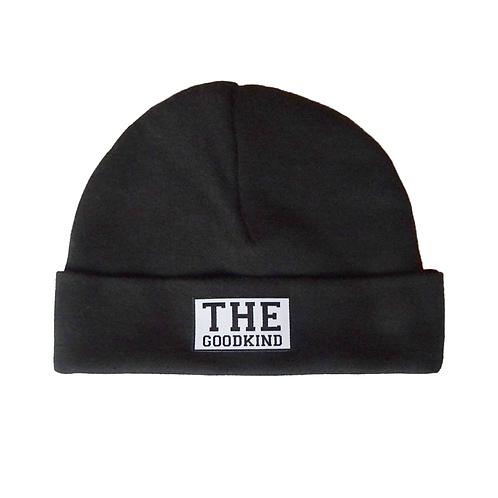 Schwarze Baby Mütze mit Logo