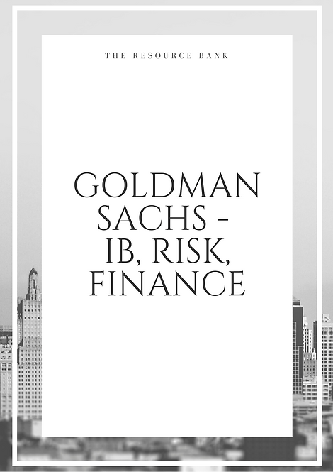Example Goldman Sachs - IB, Risk, Finance Cover Letter
