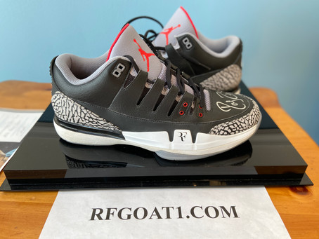 Roger Federer's Nike Zoom Vapor AJ3 Black Cement PE Sample