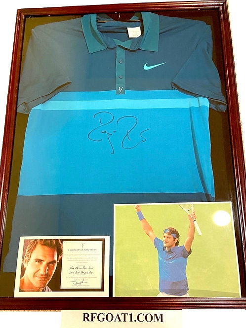 Roger Federer Match Worn Signed Custom PE Nike Shirt Indian Wells 2012