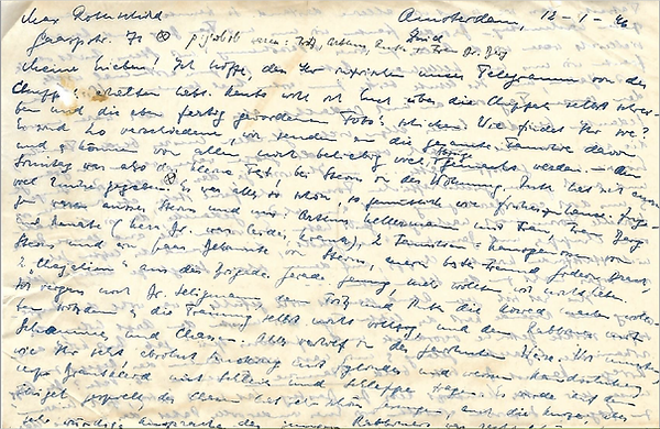 Image of letter from Max Rothschild, January 12, 1946, Amsterdam