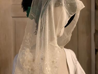Antique lace bonnet veil (25)