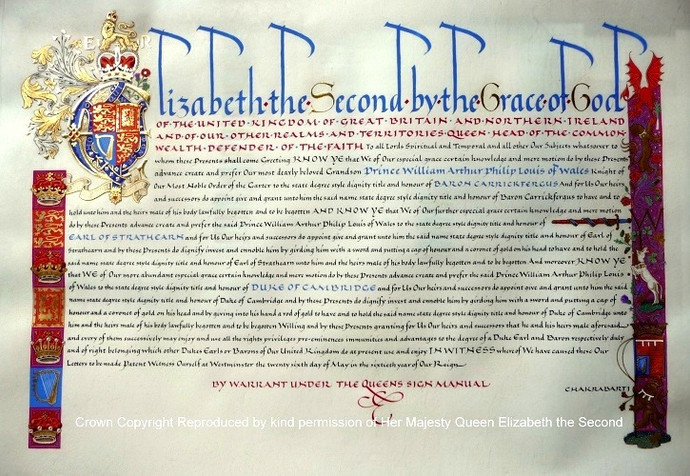 Royal Letters Patent issued under the Great Seal of the Realm to HRH the Duke of Cambridge