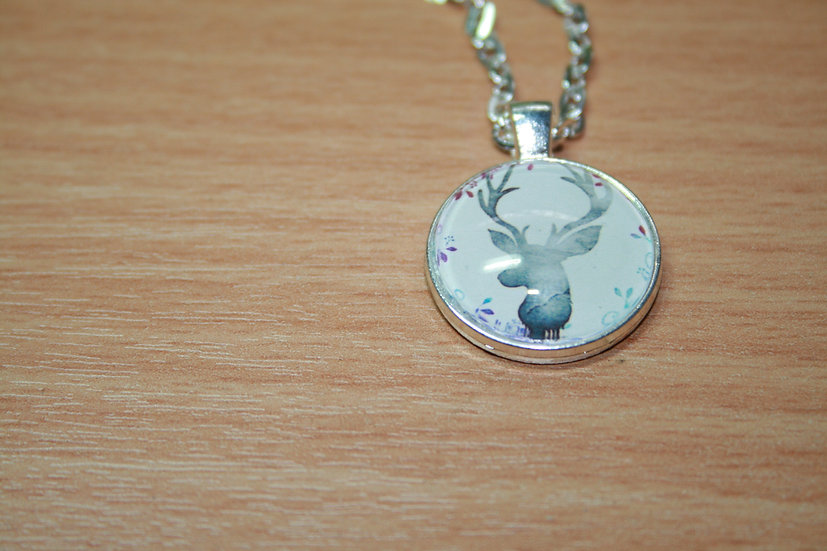 Deer Pendant on White Metal Chain