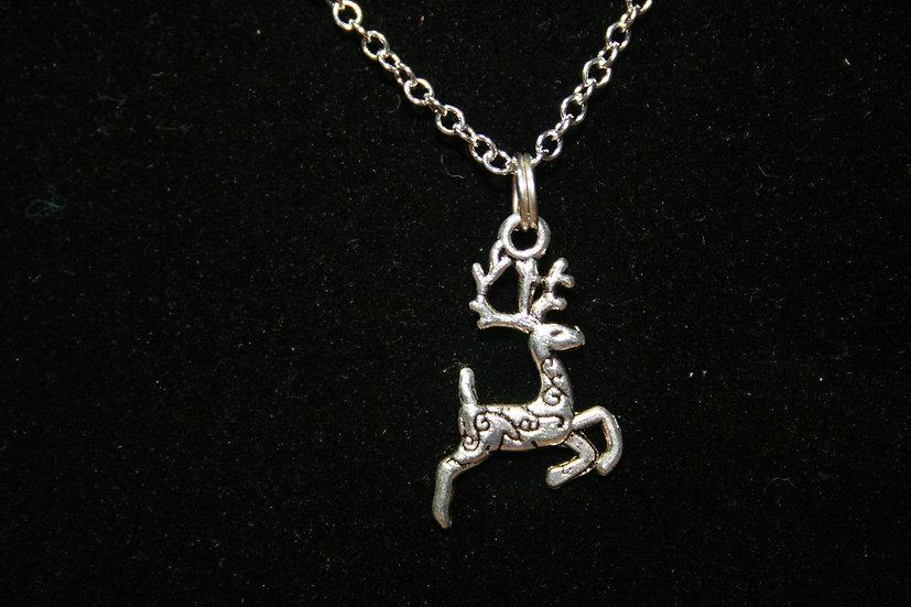 Deer on White Metal Chain