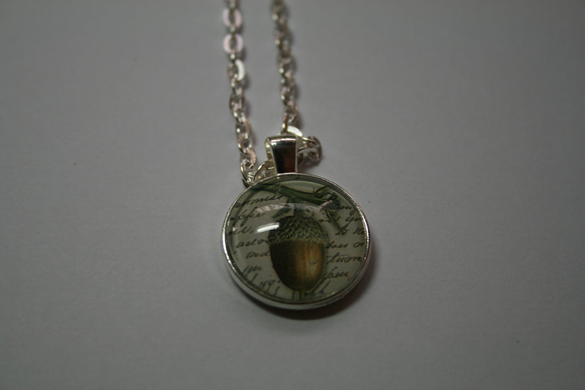 Acorn Pendant with White Metal Chain