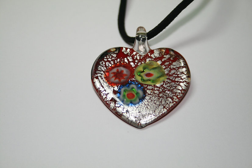 Glass Heart Pendant on Suede Thong
