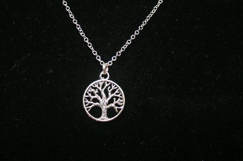 Tree Pendant on White Metal Chain
