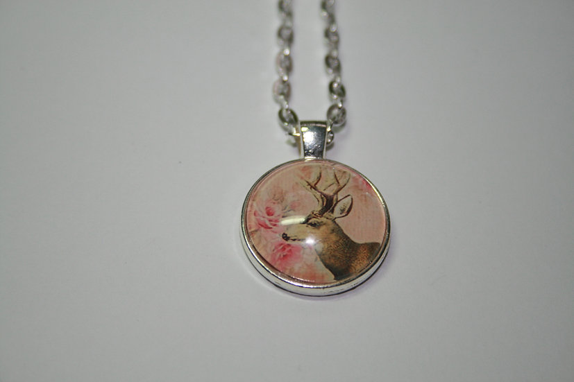 Deer Cabochon pendant on White metal chain