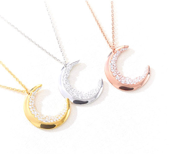 Hanoi Crystal Moon Necklace