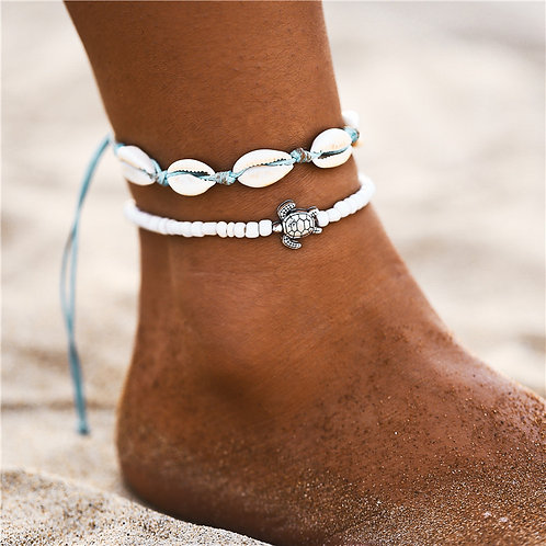 San Diego Shell & Turtle Anklet