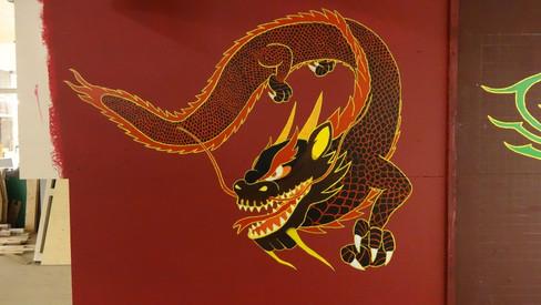 Chinese draak op wand
