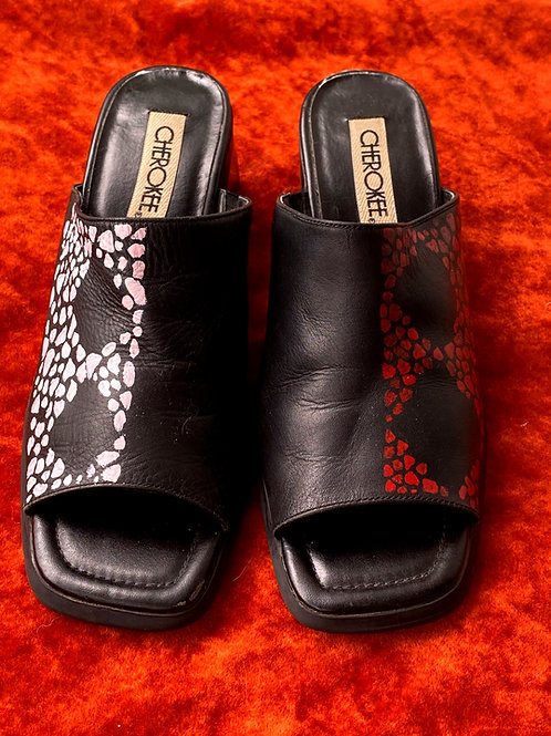 Hand Painted Leather Mules
