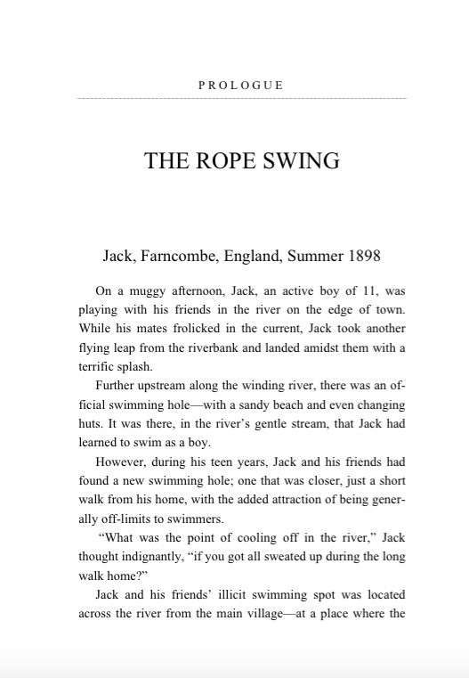 First page of The Rope Swing, a bonus chapter to The Man Who Sent the SOS